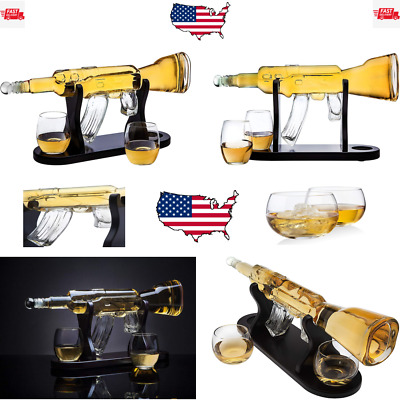 Rifle Gun Whiskey Decanter with 2 Whiskey Glasses Set - for Liquor, Scotch