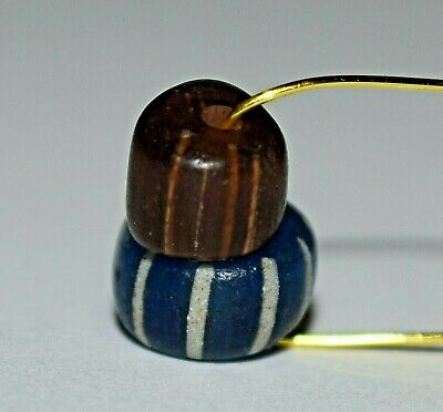 Antique Venetian Drawn Blue & Brown Gooseberry Glass Beads Stripes African Trade