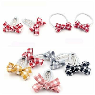 2Pcs Kids Baby Girl Bowknot Ribbon Plaid Clips Hair Rope Hairpins Accessories