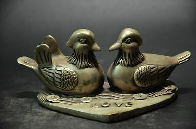 Collectible Decorated Miao silver Lovely Mandarin duck