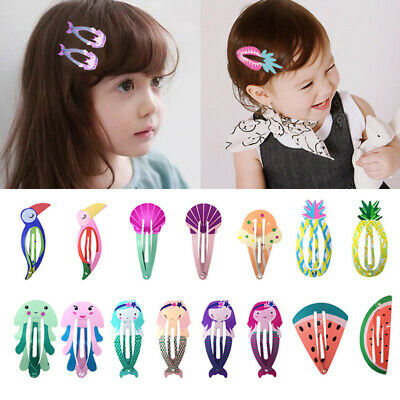 Children Hair Clip Fruit Cartoon Baby Hairpin Mermaid Accessories Side Colorful