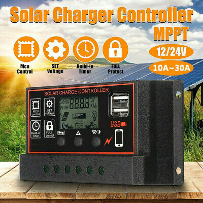 12V/24V Solar Panel USB Battery Power Charger 10/20/30A MPPT Solar Controller