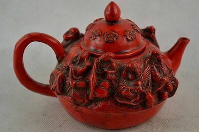 China Rare Old Decorated Handwork Coral Carving Immortal Flower Usable Tea Pot