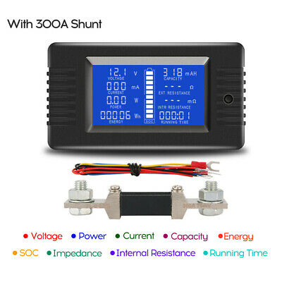 LCD Display DC Battery Monitor Meter 0-200V Volt Amp for Cars RV Solar System