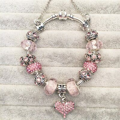 Authentic Pandora Women Silver Pink LOVE STORY with European Charm Bracelet