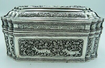 Large Antique Solid Silver Box / Casket - French Empire IndoChina Import 746g