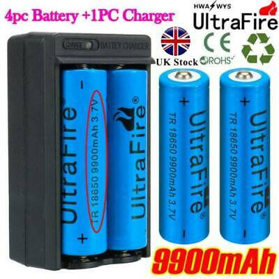 4pcs BRC18650 3.7V 9900mAh Li-ion Lithium Rechargeable Battery + 18650 Charger