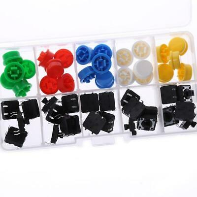 25 Pcs Momentary Tactile Push Button 12x12x7.3mm Touch Micro Switch 4P PCB w/Cap