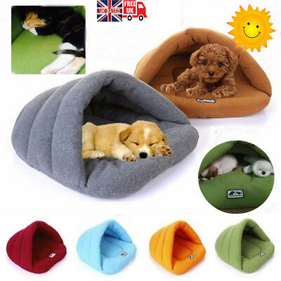 Pet Cats Dogs Nest Bed Puppy Soft Warm Cave House Winter Sleeping Bag Mat Pad UK