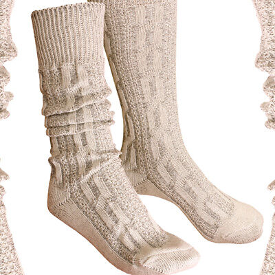Traditional Socks Over-Knee Braid Pattern Beige Brown Stockings 41 - 47