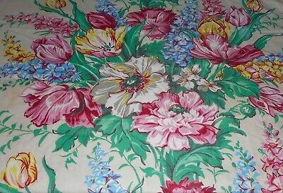 Antique Vintage Lg. Scale Floral Cotton Fabric ~ Pink Red Green Blue Yellow Gray
