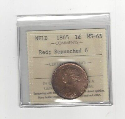 1865  ICCS Graded Newfoundland, Large One Cent, **MS-65 Repunched 6**