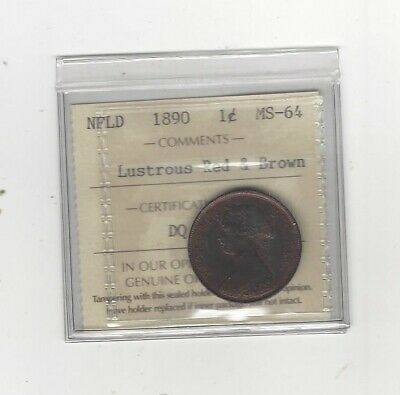 1890  ICCS Graded Newfoundland, Large One Cent, **MS-64**