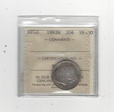 1882H  ICCS Graded Newfoundland,   ¢20 Twenty Cent, **VF-30**