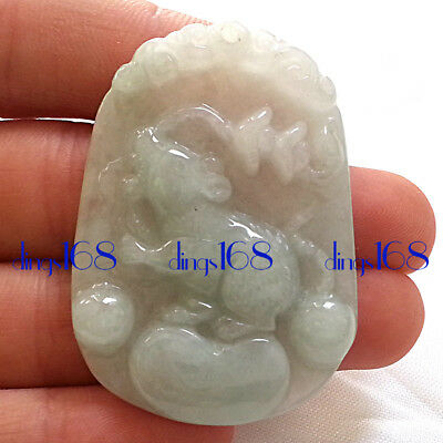 Certified 100% Natural A Jade Jadeite Twelve zodiac mouse Women Pendant JD19