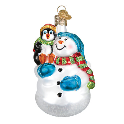 """""""Snowman with Penguin Pal"""" (24181)X Old World Christmas Glass Ornament w/ OWC Bx"""