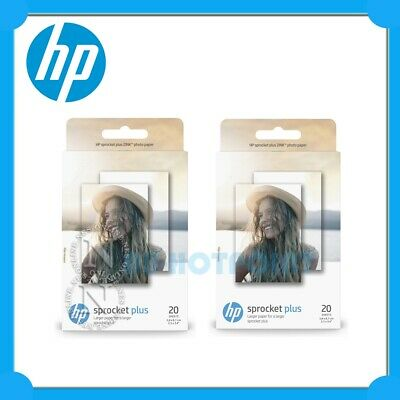 """2x HP ZINK 2.3x3.4"""" Adhesive Glossy Photo Paper (2x 20 Sheets) for Sprocket PLUS"""