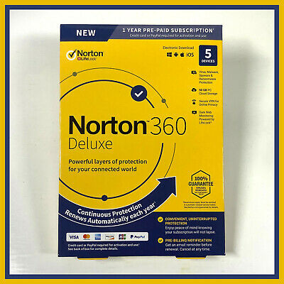 Norton 360 Deluxe | 5 Devices | 1 Year | Version 2020 | 50GB Of Secure PC Cloud