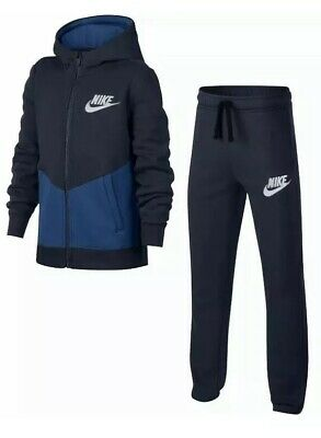 Nike Boys Tracksuit Bottoms Top Hoodie Cotton Fleece 100% Authentic Blue New
