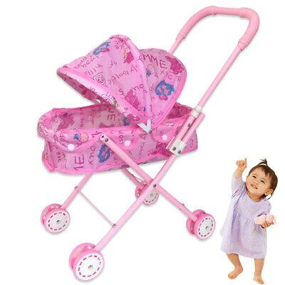 Foldable Doll Stroller With Hood Adorable Doll Pram Lightweight Pink Baby Toy