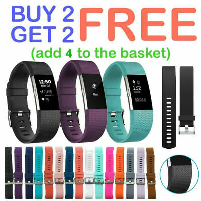 For Fitbit Charge 2 /HR Strap Sports Wrist Band Silicone Replacement Small Large