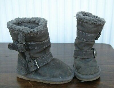 Girls NEXT Grey Faux Suede Boots with Warm Faux Fur Lining Size 4 Infant
