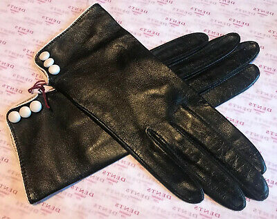 Dents Ladies Black Leather Gloves Size 6.5 Small Bnwt
