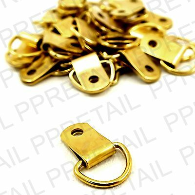 25x QUALITY SMALL BRASS PICTURE D-RINGS Picture Frame Hanging Hanger Frames