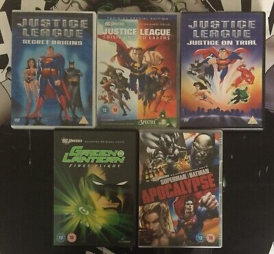 DC ANIMATED 5 DVD BUNDLE - Justice League, Green Lantern, Superman, Batman