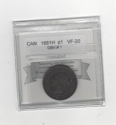 1881H  Coin Mart Graded Canadian, Large One Cent, **VF-20**