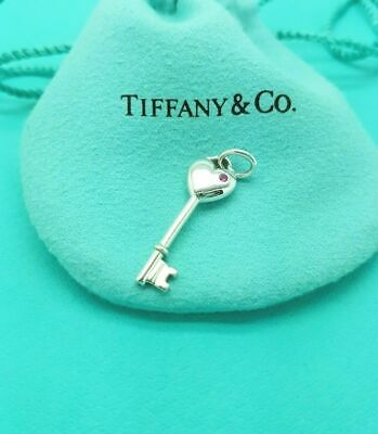 Tiffany & Co Sterling Silver Pink Sapphire Heart Key Charm Pendant Vintage