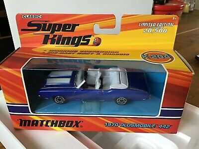 Matchbox Superkings K-204 1970 Oldsmobile 442 Convertible - Blue - Mint/Boxed