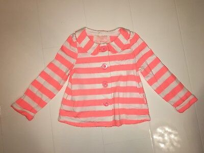 Monsoon Girls Neon Pink & White Striped Jersey Cotton Jacket – Age 3-4 Yrs