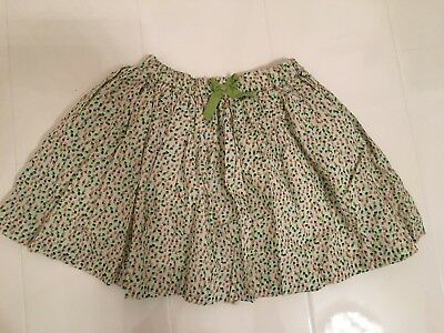 NEXT GIRLS IVORY, GREEN, BROWN & PINK SPOTTED FULL COTTON SKIRT–AGE 3-4 YR 106cm