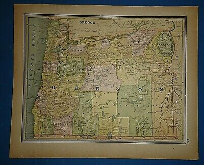 Vintage 1891 OREGON STATE MAP Old Antique Original & Authentic Atlas Map
