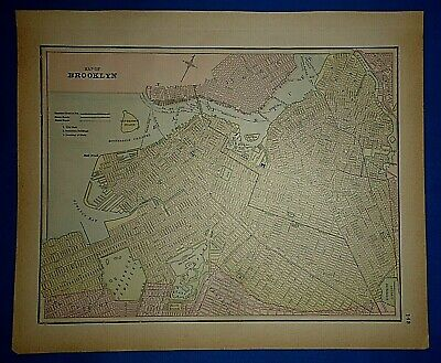 Vintage 1891 BROOKLYN, NEW YORK MAP Old Antique Original & Authentic Atlas Map