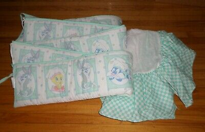 Baby Looney Tunes Mint Green Crib Bumper + Dust Ruffle Vintage 1999