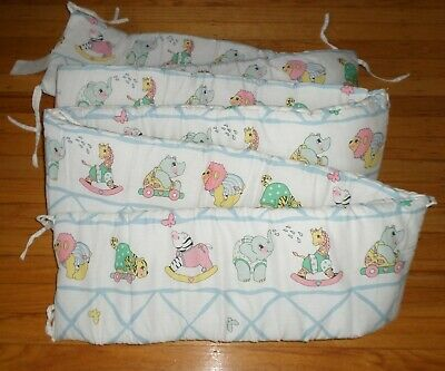 Baby Girl Crib Bumper White with Color Toys on Vintage