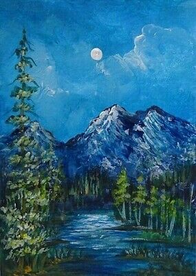 The Mountains  - Original 100% Hand Painted Aceo Acrylic Canvas Painting