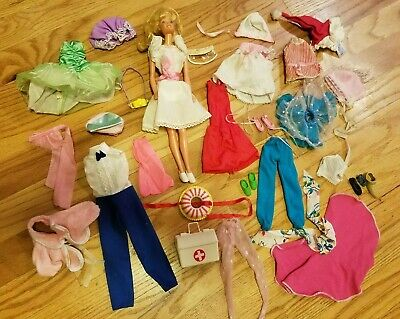 Vintage 33 pc Lot Barbie Type Doll Clothes & Accessories & Doll + camera shoes