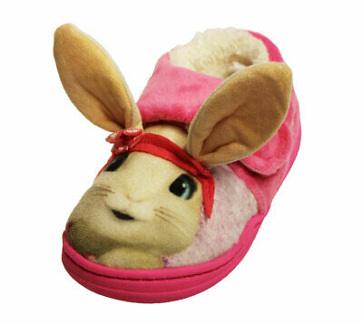 Peter Rabbit Girls Lily Bobtail Touch & Close Full Slippers - 9 Child UK