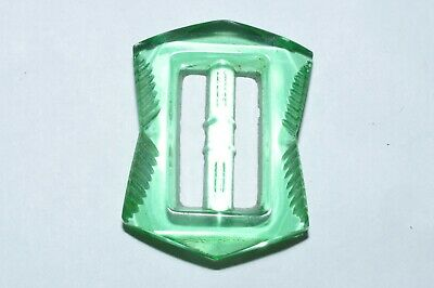 Beautiful Vintage Art Deco Green Pressed Glass Buckle Signed Czech