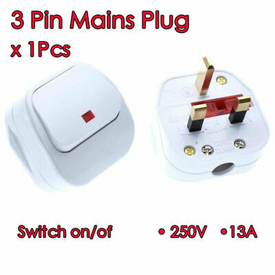 UK 3 Pin Mains Plug Top with switch on/off 250V 13A Fused Switched Neon Light