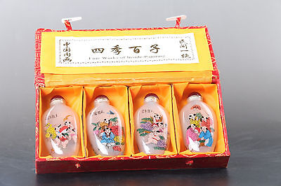Exquisite Chinese hand painting boy glass snuff bottle