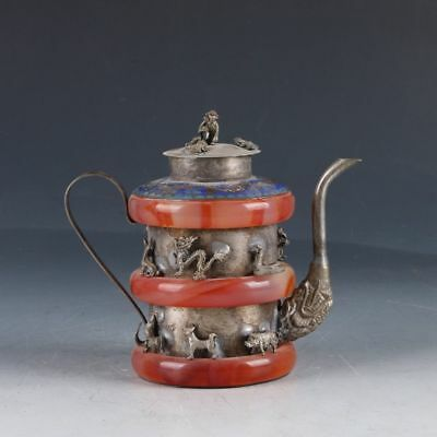Chinese Exquisite Silver & Jade Handmade Carving The 12 Chinese Zodiacs Teapot