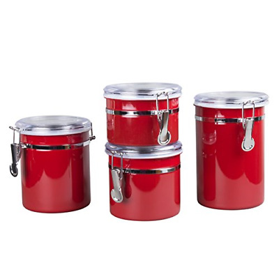4-Pieces Stainless Steel Canister Container Set with Air Tight Lid and Locking
