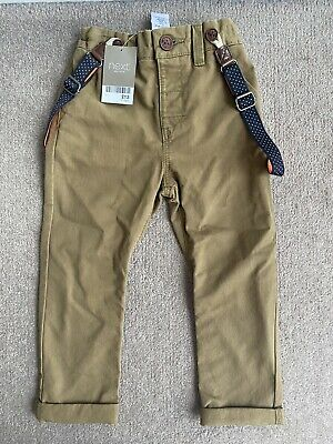 Next Brand New Brown Cream Chinos Smart Trousers With Braces Boy 2-3 Years