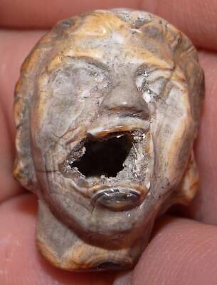 27mm Ancient Very Rare Imam Al Hussein Agate Head, 1400+ Years Old, #MC16