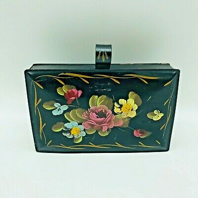 Antique Tole Box Toleware Hand Painted Flowers Lidded Handle