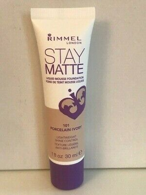 RIMMEL LONDON STAY MATTE Liquid Mousse Foundation SHADE 101 PORCELAIN IVORY 30M